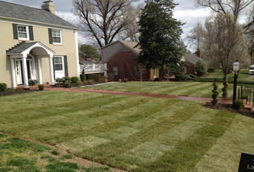 After fresh sod has been laid at a residence