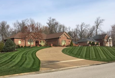 Striping on a yard mowed by Hobgood Landscaping Owensboro ky